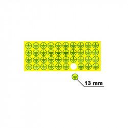 Znak ochranné uzemnění, průměr 13 mm, žlutý podklad, zelený tisk