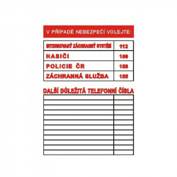 V případě nebezpečí volejte (tabulka důležitých telefonních čísel)