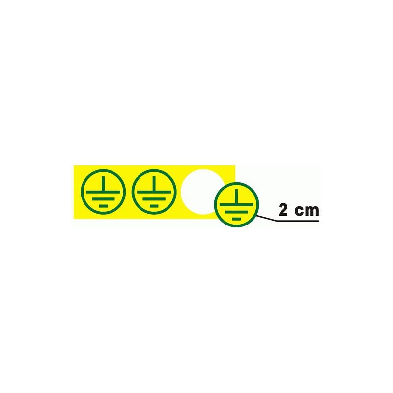 Znak uzemnění v kruhu, prům. 2cm - žlutý podklad, zelený tisk