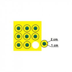 Znak uzemnění v kruhu, průměr 2cm, žlutý podklad, zelené mezikruží, prům. 1cm