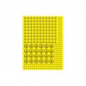 Znak uzemnění v kruhu - 3 velikosti, žlutý podklad, černý tisk