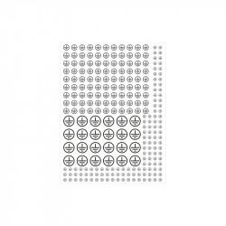 Znak uzemnění v kruhu - 3 velikosti, bílý podklad, černý tisk