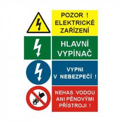 Pozor ! Elektrické zařízení / Hlavní vypínač / Vypni v nebezpečí ! / Nehas vodou ani pěnovými přístroji