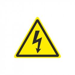 Výstraha riziko úrazu el. proudem - výřez, žlutá samolepka
